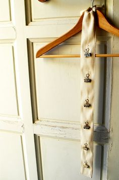 Use twill ribbon/tape for organizing earrings, hair doodahs, scarves and more.