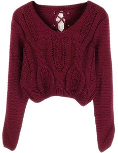 Women's Pullover Sweaters - PrettyGuide Women's Sweater Long Sleeve Eyelet Cable Lace Up Crop Top at Women's Clothing store: Crop Pullover, Cropped Knit Sweater, Crop Top Sweater, Sweater And Shorts, Long Sleeve Sweater, Purple Sweater, Long Cardigan, Vintage Sweaters, Long Sweaters