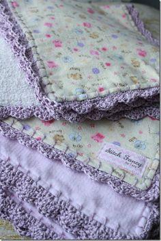 Blanket stitch at .5 inch intervals. Then crochet with #3 thread.
