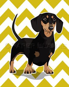 Dachshund Wiener Dog art print black and tan  by PaperLlamas, $14.00