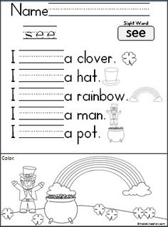 This is a St. Patrick's Day writing activity available FREE on Madebyteachers.com. Student's practice reading and writing.