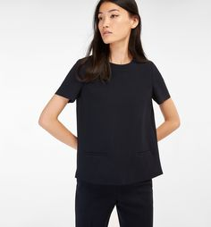 Autumn Spring summer 2017 Women´s NAVY TOP at Massimo Dutti for - Effortless elegance! Shirt Blouses, Shirts, Navy Tops, Women Wear, V Neck, Couture, My Style, How To Wear, Clothes