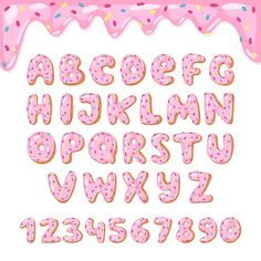 Alphabet donut vector kids alphabetical doughnuts font ABC with pink letters and glazed numbers with icing or sweet alphabetic typography for happy birthday illustration isolated on white background Bullet Journal Writing, Bullet Journal Ideas Pages, Bullet Journal Inspiration, Lettering Tutorial, Happy Birthday Illustration, Donut Vector, Hand Lettering Alphabet, Brush Lettering, Creative Lettering