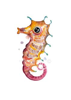 Childrens Art - Animal Painting - A4 11.7x8.3in - Watercolor Painting - Nursery Art Print-  Sea Horse 2