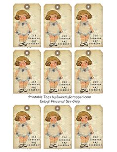 Did Someone Say Cookies? Vintage Tags with Sweet Chubby Girl