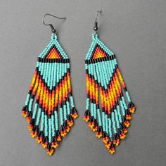 Turquoise Native American Inspired Seed Bead Earrings on Etsy, $26.00