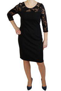 8b5c606acb Elegancka sukienka XXL MAJA czarna 40-50 PLUS SIZE na stójce - XELKA ...