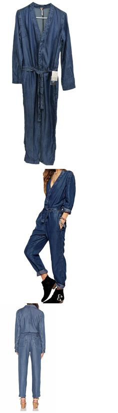Jumpsuits And Rompers: Free People New Lou Chambray Tencel Romper Jumpsuit Size 6 BUY IT NOW ONLY: $58.5