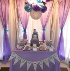 Purple owl baby shower party! See more party planning ideas at CatchMyParty.com!
