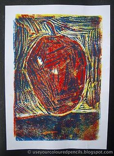 Styrofoam Reduction Prints using yellow, red and blue ink | printmaking | still life | art for kids | intro to printing | k-8 art class