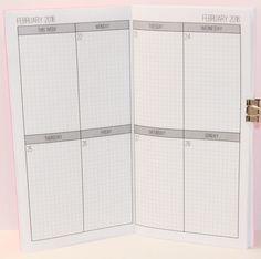 2016 Weekly Grid Planner {Passport Size} Traveler's Notebook Insert Booklet