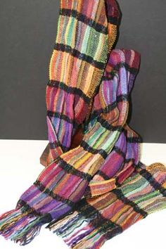 Woven scarf by Pam Howard, Resident Weaver of the John C.I like the black woven strip as a divider between each colour change. Loom Weaving, Tapestry Weaving, Fabric Structure, Woven Scarves, Textiles, Weaving Patterns, Loom Knitting, Folk, Arts And Crafts