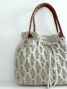 hand knitted bag - that's a beauty!