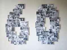 mural de fotos em formato de 60 para festa de 60 anos