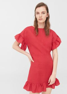 Ruffled linen dress red | MANGO