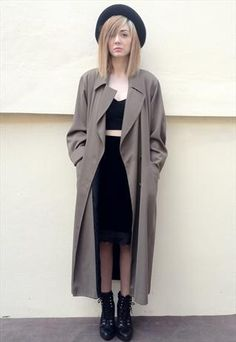 VINTAGE OVERSIZED TRENCH LONG COAT. With black bowler and ankle boots.