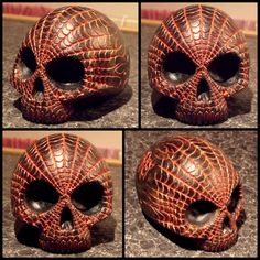 WEB HEAD SKULL Skull Artwork, Skulls, Hand Carved, Artworks, Halloween Face Makeup, Carving, Sculpture, Stone, Rock