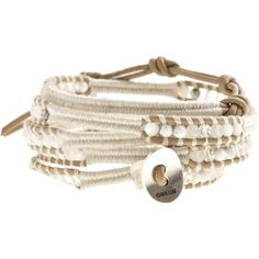 CHAN LUU White Mix Wrap Bracelet ($190) ❤ liked on Polyvore featuring jewelry, bracelets, accessories, pulseiras, acessorios, leather wrap bracelet, wrap bracelet, handcrafted jewellery, adjustable bangle and engraved jewelry