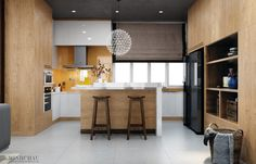 Modern Kitchen Designs With Wooden Accent Decor Brings A Contemporary Impression - RooHome | Designs & Plans