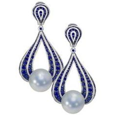 Dangle Earrings diamond blue sapphire freshwater pearl one of kind earrings