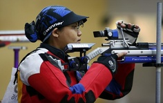 Taibi of Malaysia competes in Shooting at 8 months pregnant.