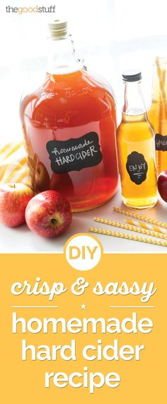 Do you love the crisp, fall taste of hard cider? Make your own with our homemade hard cider recipe, including recommendations for brewing equipment! Homemade Wine Recipes, Homemade Cider, Homemade Alcohol, Homemade Liquor, Homemade Gifts, Brewing Recipes, Homebrew Recipes, Beer Recipes, Alcohol Recipes
