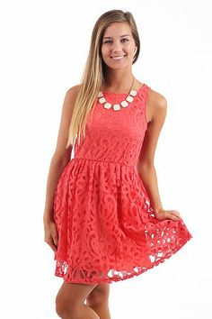 The Lace Way Dress, coral $42 www.themintjulepboutique.com