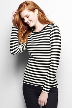 Women's Long Sleeve Shaped Crewneck T-shirt - Stripe from Lands' End