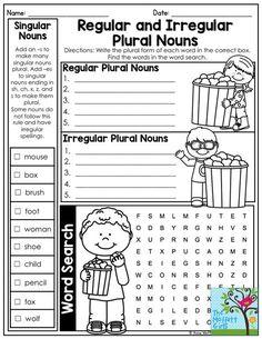 Plural Nouns Worksheet, Plurals Worksheets, 2nd Grade Ela, 3rd Grade Reading, Second Grade, Singular And Plural Nouns, Plural Rules, Good Grammar, Grammar Practice