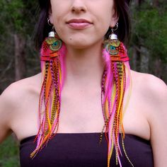 MIDSUMMER Long Feather Earrings SALE. $51.00, via Etsy.