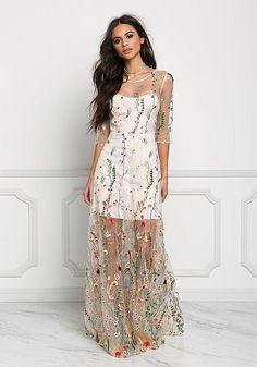 Multi Tulle Floral Embroidered Maxi Gown - Boutique Culture