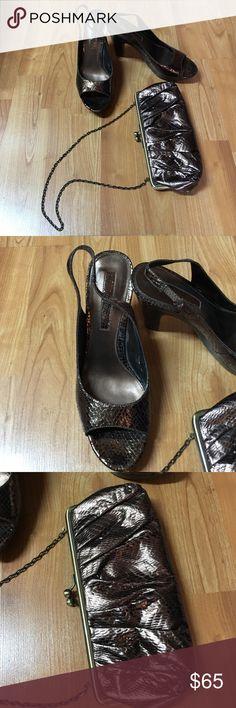 Bandolino bronze snake skin shoes and clutch Snakeskin bronze sling backs and clutch evening bag Bandolino Shoes Heels