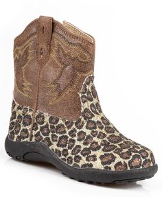 Roper Baby Girls Infant Chunks Brown Brown Glitter Leopard Faux Leather Stitch Cowboy