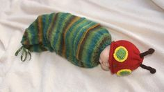 Knitting : Hungry Caterpillar cocoon & hat pattern