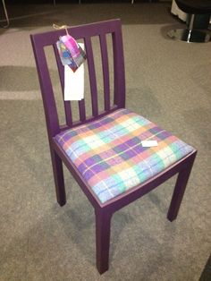 Upcycled harris tweed chair from our showroom !