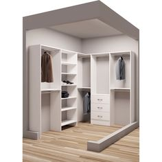 Give your clothes, shoes, and acessories a well-organized space with this walk-in closet organizer. This closet organizer has ten shelves, three drawers, and seven closet rods. The white, thermal-fuse