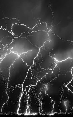 Thunderstorms, lightning, beauty of Nature, wild, powerful, intense, strong, photo b/w