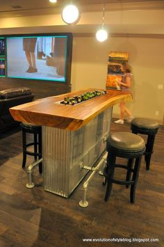 Basement Bar Ideas - If you want to decorate your basement, then you must know that there are some cool basement ideas available. By giving special attention to your basement, you can transform your basement into a comfortable room. Game Room Basement, Basement Bathroom, Game Room Bar, Game Rooms, Basement Staircase, Basement Ceilings, Basement Kitchen, Basement Sports Bar, Cozy Basement