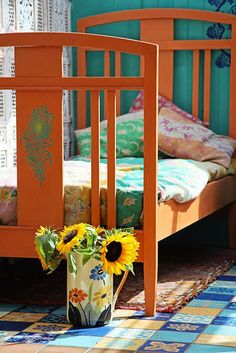 Janice Issitt Life Style Painters In Residence project. Moroccan bedroom, mandala, screen, bed and tiles all hand painted by me. Furniture Inspiration, Color Inspiration, Moroccan Bedroom, Using Chalk Paint, Annie Sloan Chalk Paint, Paint Finishes, Boho, Minimalist Home, Painted Furniture
