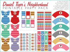 ON SALE Daniel Tigers Neighborhood Printable Party Package Instant Download Girl Boy Birthday Party Cupcake toppers Treat boxes Food Labels by PrintYourOwnParties on Etsy