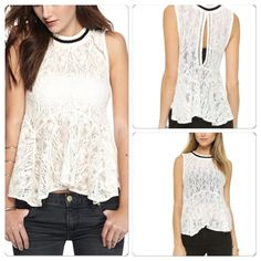 Free People Lace Tank NWT ️LACE free people top with ️black border detail . Great for layering under a jacket or a Cardigan️️ . ️black trim detail . Free People Sweaters