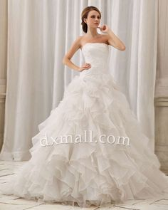 A-line Wedding Dresses Strapless Court Train Organza Satin Ivory 010010100302