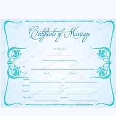 This Marriage Certificate Template Is Easily Printable And