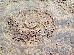 Antique 19th Century Dimensional Irish Crochet Lace White Work Embroidery Cloth | eBay