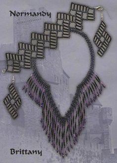"""Браслет и серьги """"Нормандия"""", сплетенные из бисера и стекляруса. Колье """"Британия"""" из бисера и стекляруса. Схемы плетения. Handmade Jewelry Tutorials, Beading Tutorials, Lace Necklace, Fringe Necklace, Ring Tutorial, Bracelet Tutorial, Jewelry Patterns, Beading Patterns, Polly Polly"""