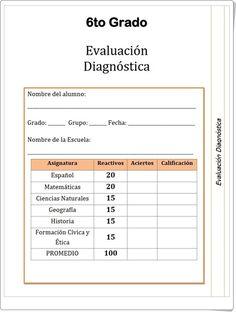 """""""Evaluación inicial diagnóstica de 6º Nivel de Educación Primaria"""" (Prueba Multidisciplinar) Primary Education, Teaching Resources, Degree Of A Polynomial, Initials"""