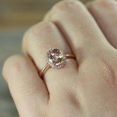 Handmade Natural Morganite Engagement Ring by LaMoreDesign. Oval Peach Morganite in 14k Rose Gold. | Etsy
