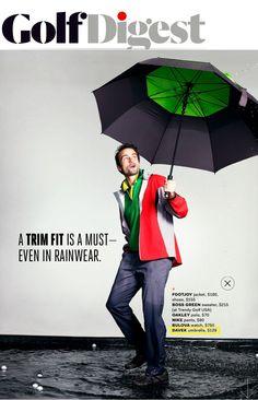 Davek in Golf Digest. The Golf umbrella in it's element. Trendy Golf, Golf Umbrella, Bulova Watches, Rain Wear, Green Sweater, Nike Pants, Oakley, Rains Clothing