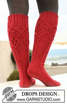 """Ravelry: 122-27 Knitted socks with cables in """"Karisma Superwash"""" pattern by DROPS design"""