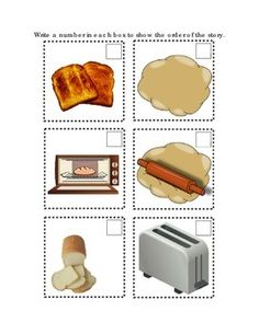 Sequencing A Recipe Bread Toast Following Directions Comprehension Emergent Reader Printable 2 Options Cut Out Mix Up and Write Number In Each Box. Math Numbers 1-6. 2 pages.